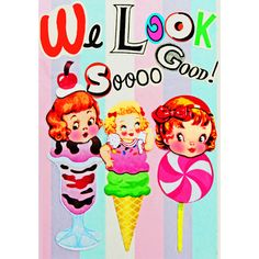 Etsy の ice cream print aceo size WE LOOK So GOOD by boopsiedaisy