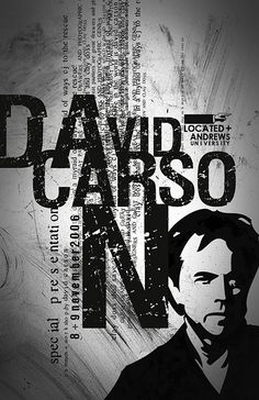 Poster for David Carson speech David Carson Design, David Carson Work, Graphic Design Posters, Graphic Design Typography, Graphic Design Illustration, Poster Designs, Graphic Designers, Nike Poster, Typography Poster