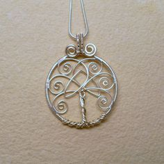 Tree of Life Pendant Necklace With Celtic Trinity Knot, Silver Plated Wire Wrapped Jewelry
