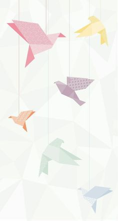 Ideas For Origami Bird Wallpaper Pastell Wallpaper, Wallpaper Pastel, Bird Wallpaper, Screen Wallpaper, Mobile Wallpaper, Wallpaper Backgrounds, Wallpaper Ideas, Iphone Backgrounds, Geometric Wallpaper Iphone