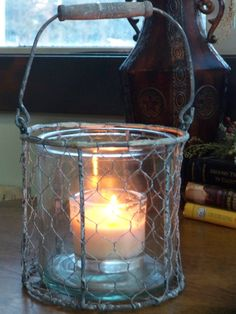 Hanging chicken wire lantern with 4 ounce by TheMontanaHomestead