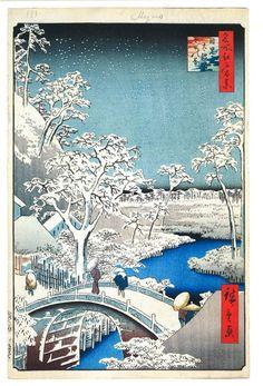 Hiroshige winter woodblock print; Japanese;1800's