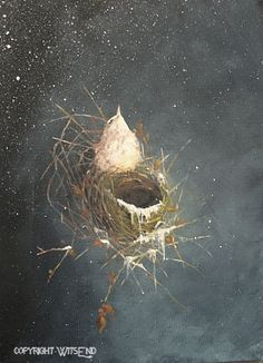 'AN UNEXPECTED SNOW', Winter NEST painting original ooak bird nest art FREE usa shipping. by 4WitsEnd, via Etsy