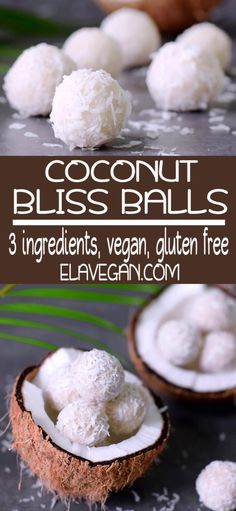 Coconut bliss balls with only 3 simple ingredients. This easy to make recipe is vegan, gluten free, healthy and Paleo friendly. The delicious truffles which will fix all coconut cravings Dessert Sans Gluten, Vegan Dessert Recipes, Vegan Sweets, Snack Recipes, Healthy Party Snacks, Healthy School Snacks, Easy Snacks, Healthy Snacks Savory, Eating Healthy