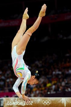 Deng Linlin of China competes on the beam during the Artistic Gymnastics Women's Beam final on Day 11 of the London 2012 Olympic Games at North Greenwich Arena on August 7, 2012 in London, England.