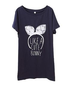 Lace BUNNY T-shirt in Dark Blue