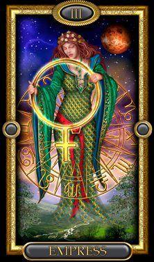 The Empress of the Gilded Tarot Royal Tarot Cards Major Arcana, The Sun Tarot, Le Tarot, Pagan Art, Epic Art, Tarot Spreads, Oracle Cards, Sacred Art, Tarot Decks