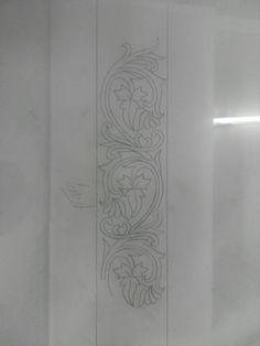 Hand Embroidery Design Patterns, Flower Embroidery Designs, Hand Embroidery Stitches, Machine Embroidery Designs, Gold Embroidery, Rangoli Borders, Rangoli Border Designs, Pencil Design, Indian Art Paintings