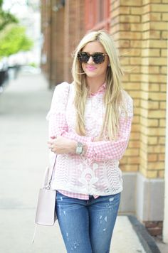 Love layering the sheer top over the button down!