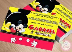 Convite - Tema Mickey Mouse    *Não acompanha envelope.   *Se preferir com envelope + tag para marcar convidado o preço é de R$ 1,80 cada      Feito em qualquer tema!