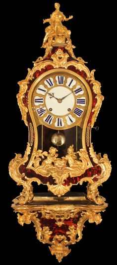 Spectacular and very high quality Louis XV  tortoiseshell and ormolu mounted cartel clock, France beg. of 18th Cent.
