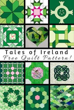 This free eBook includes 12 quilt block patterns plus assembly instructions to make a Tales of Ireland lap quilt. Make the quilt from the pattern offered or use the individual blocks to make a completely different project! Irish quilts are fun either way!