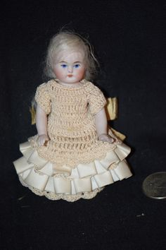 Antique Doll Miniature French Market Bisque Dollhouse All Bisque