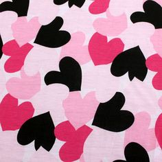 Falling Hearts on Pink Cotton Jersey Blend Knit Fabric - Girl Charlee