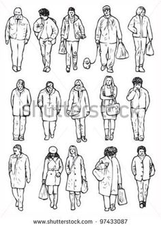 Sketches Of People, Drawing People, Line Sketch, Line Drawing, Human Sketch, Walking People, Architecture People, Perspective Art, Bird Quilt