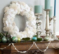 all white pom pom, felt flower wreath