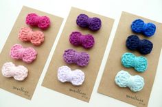 Pick 4Baby Bow Hair ClipsCrochet BowsSnap by SweetlaceShop on Etsy, $18.00