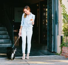 double denim dog walking // spring outfit