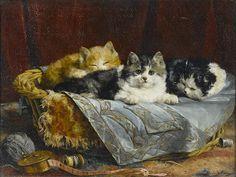 Charles H. van den Eycken (Belgian, 1859-1923) Mischief in the sewing basket 13 1/2 x 18in (34.2 x 45.7cm)