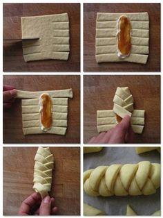 Pan Relleno, Bread Shaping, Braided Bread, Bread Plait, Snacks Für Party, Creative Food, Creative Ideas, Food Hacks, Food Art