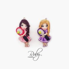 #tennis #player #racket #ball #polymerclay #clay #fimo #necklace #jewelry…