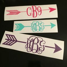 Personalized Vinyl Arrow Monogram Custom Car Laptop Tablet Phone Decal MULTIPLE SIZES by IBGMonograms on Etsy https://www.etsy.com/listing/221229920/personalized-vinyl-arrow-monogram-custom