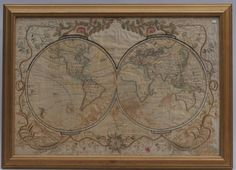 Early 19th century School Girl Embroidery of Old World-New world maps surrounded by floral garland decoration. Loss to silk and embroidery. Framed. Overall size: 21
