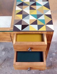 Desktop replacement ideas. VCT floor tiles, linoleum or cork flooring, wallpaper, scored (~laser engraved for me @Lulu Zee) & painted plywood/scrap lumber. Laminate countertop scraps (easily cut &/or engraved) decoupage under glass or plexi, oilcloth, vinyl or fabric tablecloth
