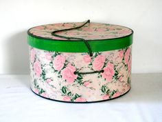 Pink Rose Print Hat Box with Bright Green Trim