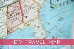 DIY Travel Map - I want to have a wall of maps.    credit: Chelsea Costa [http://lovelyindeed.com/diy-travel-map/]