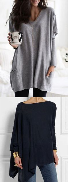 Solid Long Sleeve V Neck Pockets Casual Blouses Tops Outfits Otoño 2017, Winter Fashion Outfits, Autumn Fashion, Pretty Outfits, Cute Outfits, Minimalist Fashion, Minimalist Wardrobe, Facon, Blouse Styles