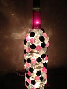 Pink,black, and White Zebra Wine Bottle Night Light on Etsy, $25.00