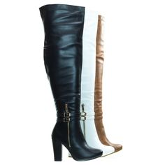 Block Heel Over-The-Knee Dress Boots w Double Buckle Long Boots With Heels, Knee High Boots Dress, Lace Up Wedge Boots, High Heels Outfit, Sexy Boots, Black High Heels, Dress With Boots, Thigh High Boots, High Heel Boots