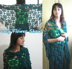 Lacy Flower Shawl - Free Crochet Pattern - by Meladora's Creations