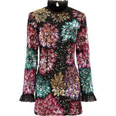 Millie Mackintosh Ossington Sequin Dahlia Dress ($335) ❤ liked on Polyvore featuring dresses, multi-color dresses, multicolor sequin dress, slimming dresses, multicolored dress and multi print dress