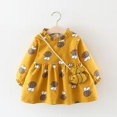 Baby Girl Adorable Bee Fleece-lining Long-sleeve Dress and Bag Set Kids Dress Wear, Little Girl Outfits, Baby Outfits, Little Girl Dresses, Kids Outfits, Little Girl Clothing, Girls Dresses, Baby Dress Design, Baby Girl Dress Patterns