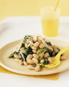 Spinach and beans:  This recipe can be eaten as a side dish or as a light meal. It's great with some crusty bread.