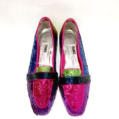 Vintage Womens 80's flats loafers shoes fully sequin beaded shoes Frankie and Baby Beverly Feldman size 7