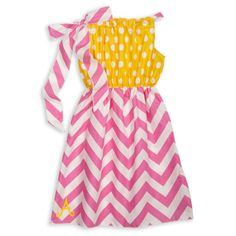 Isn't She Lovely?! Our Yellow Dot Pink Chevron Tie Dress is Perfect for Sunny Weather. Hurry! Summer Will be Here Before You Know it! Shop All Our Adorable Styles!  http://www.lollywollydoodle.com/collections/dresses/products/yellow-dot-pink-chevron-tie-dress?utm_source=Pinterest