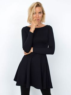 The Ponte Long Sleeve Skater Dress now comes in Black! #AmericanApparel #AAFALL
