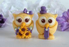 Custom owl wedding cake topper yellow and purple by PerlillaPets, $89.00