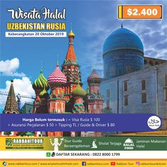 Anda akan mengunjungi obyek-obyek wisata unggulan di Russia – Uzbekistan seperti Winter Palace dan Senate Palace di St. Petersburgh, Red Squre, Kremlin, dan The Victory Park di Moscow, Berbagai perumahan warisan budaya UNESCO di Uzbekistan laksana Kompleks Samarkand, Kompleks Bahauddin Naqshabandi, Kompleks arsitektural Sakhi Zindeh, Tempat Kelahiran Imam Bukhari di Bukhara. Ayo ajak sahabat dan keluarga Sahabat untuk bergabung di Halal Tour Rusia – Uzbekistan Hubungi 0822-8000-1799 Kuala Lumpur, Taj Mahal, Tours, Travel, Viajes, Destinations, Traveling, Trips