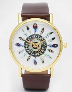 Image 1 ofReclaimed Vintage Feather Print Watch