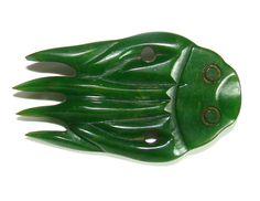 HUGE Bakelite Realistic Button Marbled Green Squid  Carved Dbl Loop Shanks