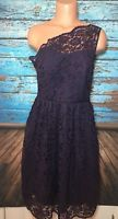 Tevolio Women's Purple One Shoulder Lace Dress Sz 8 Bridesmaid Knee Length