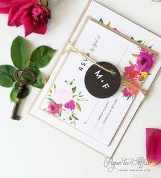 Floral Wedding Invitation  Watercolor Floral por PaperTieAffair