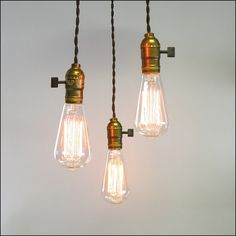 three light bare bulb pendant