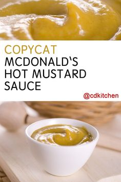 A recipe for McDonald's Hot Mustard Sauce For Nuggets made with Dijon mustard, prepared mustard, Heinz 57 sauce, mayonnaise, sour Mcdonalds Hot Mustard Sauce Recipe, Mcdonald's Hot Mustard Recipe, Chinese Hot Mustard Recipe, Copykat Recipes, Sauce Recipes, Fondue Recipes, Dip Recipes, Recipies, Healthy Recipes