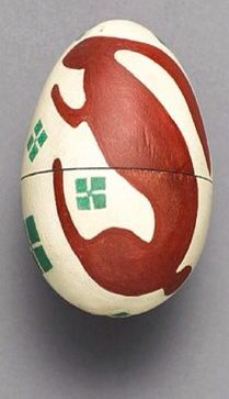 "Easter egg (in 2 parts) by Koloman Moser, ca.1906. Painted wood, 9 cm (3.5"")"