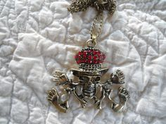 Brass Skeleton with Red Glass Beads on a Chain Necklace goth steampunk hippie boho gypsy day of the dead cowgirl glam under 10 by LandofBridget
